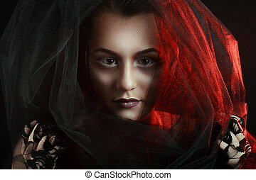 Mysterious Woman Portrait Beautiful Model Woman Face Closeup...
