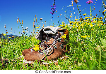 Hiking Alps - mountain boots on alpine pasture with blue sky