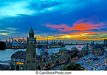 Hamburg Harbor and River Elbe at sunset