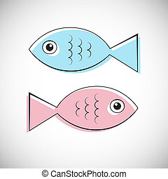 Abstract Vector Blue and Pink Fish Illustration Isolated on Light Grey Background