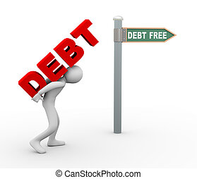 3d man debt free zone - 3d illustration of person caryying...