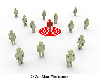 Targeting customers and buyers - 3d illustration of man on...