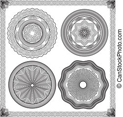 Set of Vintage backgrounds, Guilloche ornamental Element for Certificate, Money, Diploma, Voucher, decorative round frames.