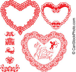 Set of vintage ornamental hearts shapes with calligraphic text BE MY VALENTINE and ornament elements. Valentines Day card design