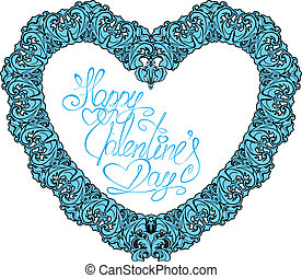 vintage ornamental heart shape with calligraphic text Happy Valentines Day