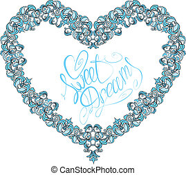 vintage ornamental heart shape with calligraphic text SWEET...