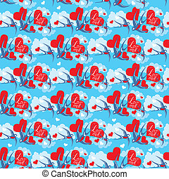 Seamless pattern with swallows and hearts on sky background with clouds Valentine`s Day or Wedding design