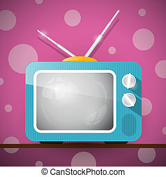 Retro Blue Television, TV Illustration on Abstract Pink...