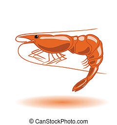 orange shrimp - colorful illustration with orange shrimp for...