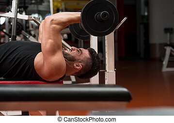 Young Man Working Out Triceps - Muscular Men Doing Heavy...