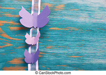 Butterfly Background - Three Purple Butterflies on a...