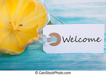 Welcome Tag - Tag with Welcome on Turquiose Background with...