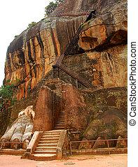Lion Mountain in Sigiriya, Sri Lanka, where in the 5th...