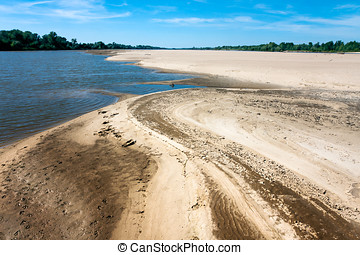 Dry Vistula River,  stream of sand