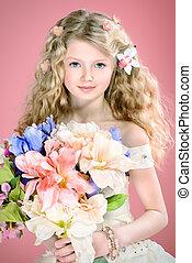 spring portrait - Beautiful tender girl in white festive...
