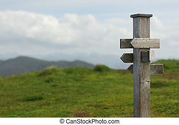 old wooden sign in the nature