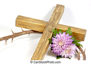 Wooden Cross Crown Of Thorns With Chrysanthnum