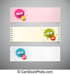 Retro Note Papers Set with Colorful Stains, Splashes with New Title
