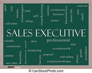 Sales Executive Word Cloud Concept on a Blackboard with...
