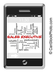 Sales Executive Word Cloud Concept on Touchscreen Phone -...
