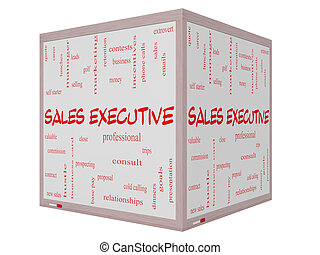 Sales Executive Word Cloud Concept on a 3D cube Whiteboard...