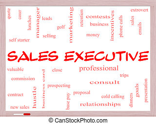 Sales Executive Word Cloud Concept on a Whiteboard with...