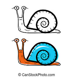 Snail Illustration - Outlined and Colored