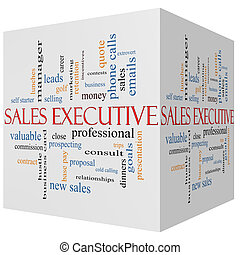 Sales Executive 3D cube Word Cloud Concept with great terms...