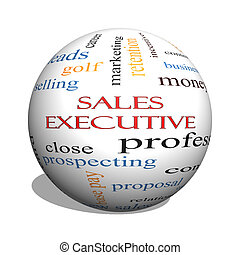 Sales Executive 3D sphere Word Cloud Concept with great...