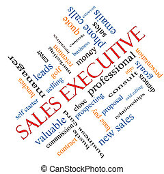 Sales Executive Word Cloud Concept Angled - Sales Executive...