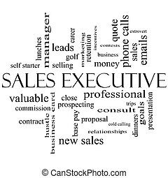 Sales Executive Word Cloud Concept in black and white with...