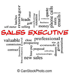 Sales Executive Word Cloud Concept in red caps with great...