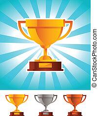 or, gagnant, tasse, trophée