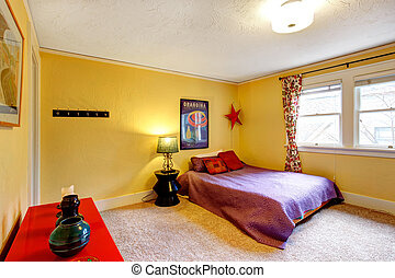 Bright  colors decorated young adult room