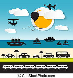 Vector Transportation Icons on Landscape Background with...