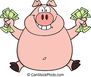 Rich Pig Jumping With Cash - Smiling Rich Pig Jumping With...
