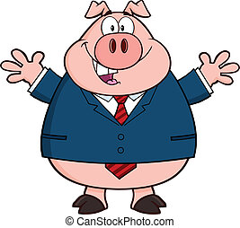 Pig Character With Open Arms