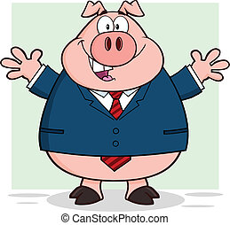 Businessman Pig With Open Arms