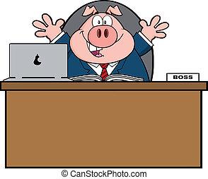 Businessman Pig Behind Desk