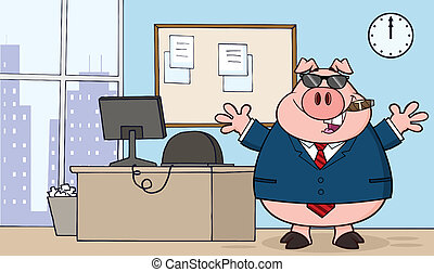 Businessman Pig In Office - Businessman Pig Cartoon With...