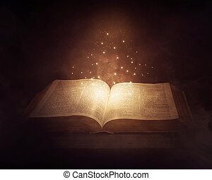 Glowing Bible - A Bible in the dark with bright glowing...
