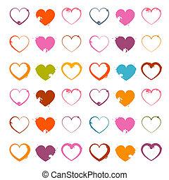 Vector Grunge Heart Symbols Set Isolated on White Background