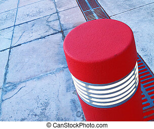 red lightpost, marker to easily see the boundries in a...