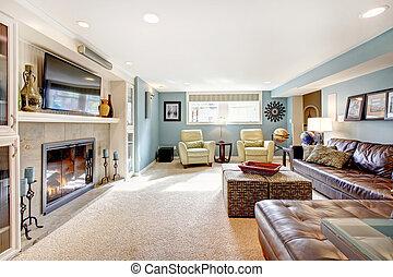 Elegant light blue living room - Light blue living room with...