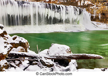 Winter at Cataract Falls - Indianas Upper Cataract Falls is...