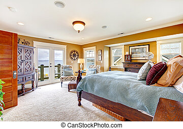 Bright rustic furnished bedroom - Furnished bedroom with...