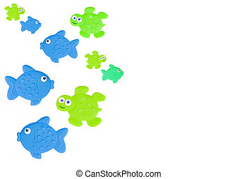 Sealife Background - Various plastic animal shapes used at...