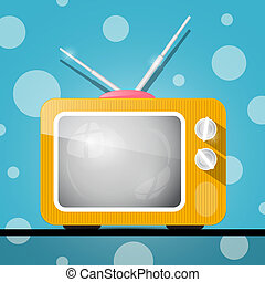 Retro Orange Television, TV Illustration on Abstract Blue...