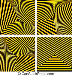 Abstract backdrops set. Striped triangles textures. Vector...