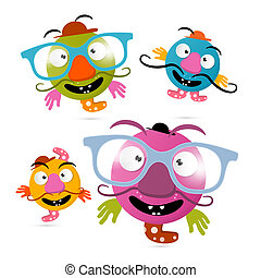 Abstract Crazy Monsters Illustrations Isolated on White...